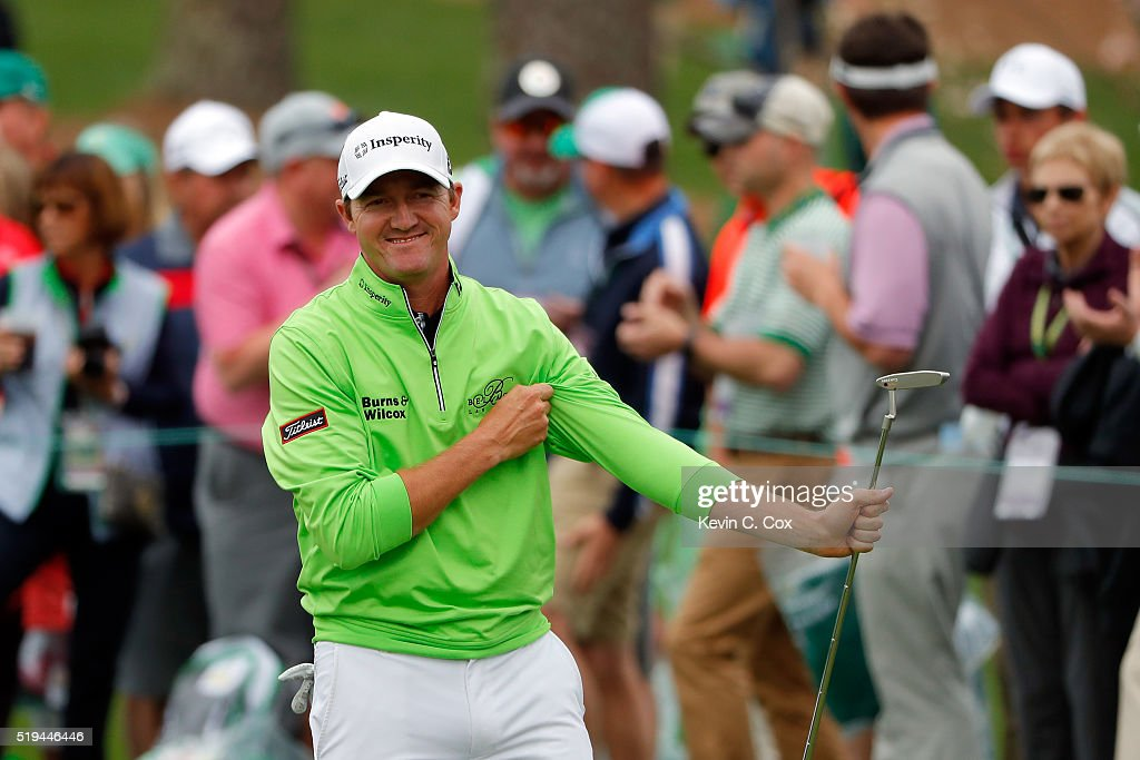 Jimmy Walker of the United States reacts during the Par 3 Contest prior to the start of the 2016 Masters Tournament at Augusta National Golf Club on April 6, 2016 in Augusta, Georgia.