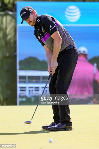 Jimmy Walker of the United States sinks his birdie putt on during the second round of the 50th anniversary AT&T Byron Nelson on May 18, 2018 at...