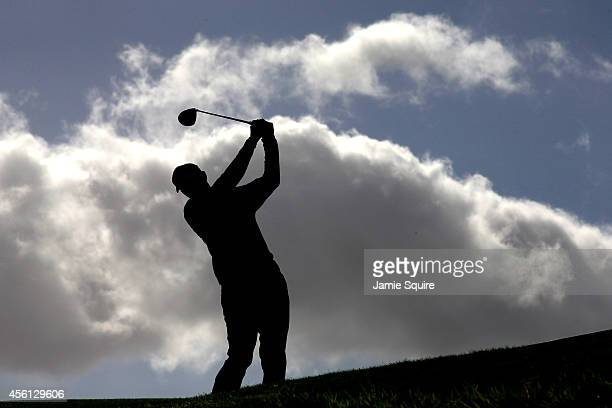 Jimmy Walker of the United States tees off on the 14th hole during the Morning Fourballs of the 2014 Ryder Cup on the PGA Centenary course at the...