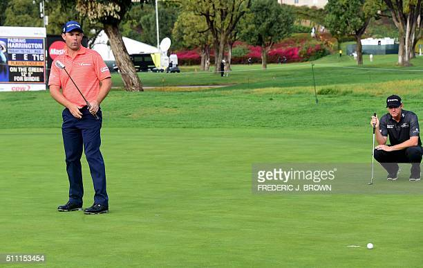 Jimmy Walker of the United States watches a nearmiss on the green by Ireland's Padraig Harrington on day one of the 2016 Northern Trust Open on...