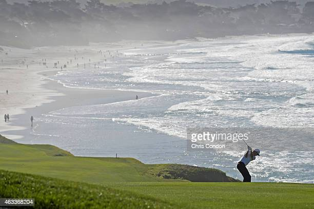 Jimmy Walker plays from the 9th fairway during the second round of the ATT Pebble Beach National ProAm at Pebble Beach Golf Links Spyglass Hill Golf...
