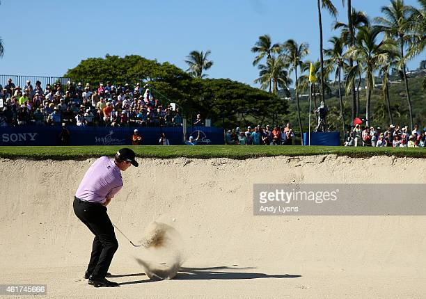 Jimmy Walker plays his second shot on the 17th hole during the final round of the Sony Open In Hawaii at Waialae Country Club on January 18 2015 in...