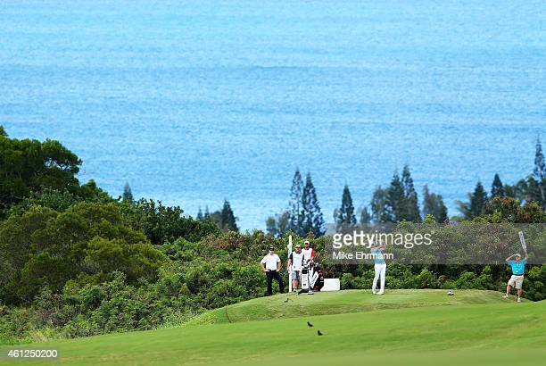 Jimmy Walker plays his shot form the fifth tee during round one of the Hyundai Tournament of Champions at Plantation Course at Kapalua Golf Club on...