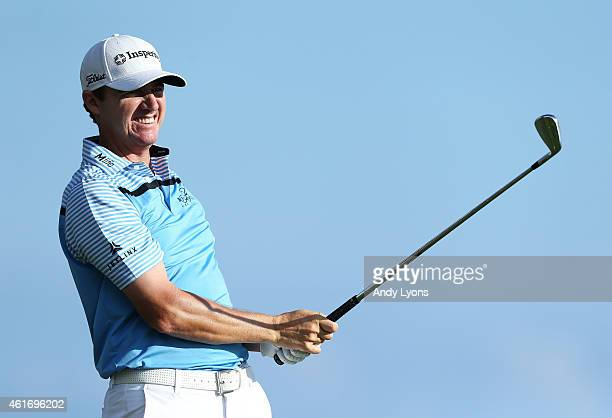 Jimmy Walker plays his shot from the 17th tee during the third round of the Sony Open In Hawaii at Waialae Country Club on January 17 2015 in...