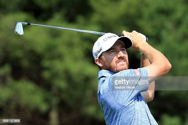 Jimmy Walker plays his shot from the third tee during the third round of the Deutsche Bank Championship at TPC Boston on September 4 2016 in Norton...
