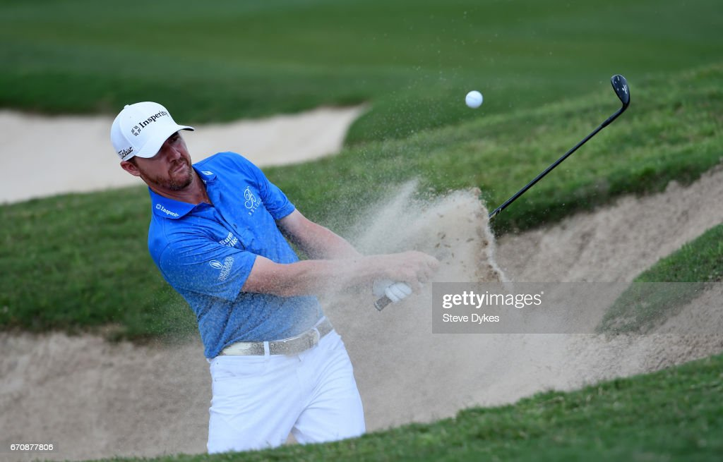 Jimmy Walker plays his shot out of the bunker on the 14th hole during the first round of the Valero Texas Open at TPC San Antonio AT&T Oaks Course on April 20, 2017 in San Antonio, Texas.