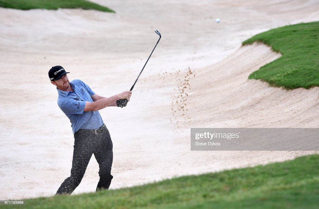 Jimmy Walker plays his shot out of the bunker on the 15th hole during the second round of the Valero Texas Open at TPC San Antonio AT&T Oaks Course on April 21, 2017 in San Antonio, Texas.