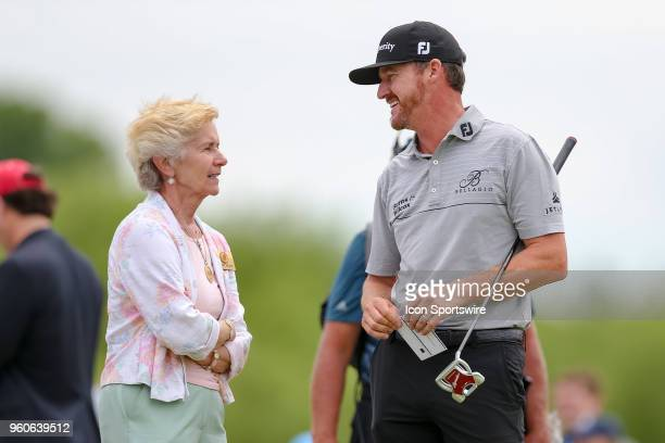 Jimmy Walker talks with Peggy Nelson prior to his final round of the 50th annual ATT Byron Nelson on May 20 2018 at Trinity Forest Golf Club in...