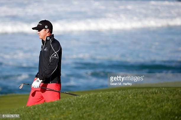 Jimmy Walker wlaks down the 10th fairway during round three of the ATT Pebble Beach National ProAm at the Pebble Beach Golf Links on February 13 2016...