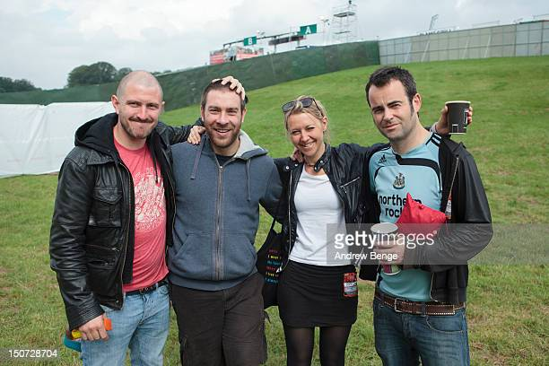 Jimmy Watkins Jack Egglestone Julia Ruzicka and Andy Falkous of Future Of The Left pose backstage during Leeds Festival at Bramham Park on August 25...