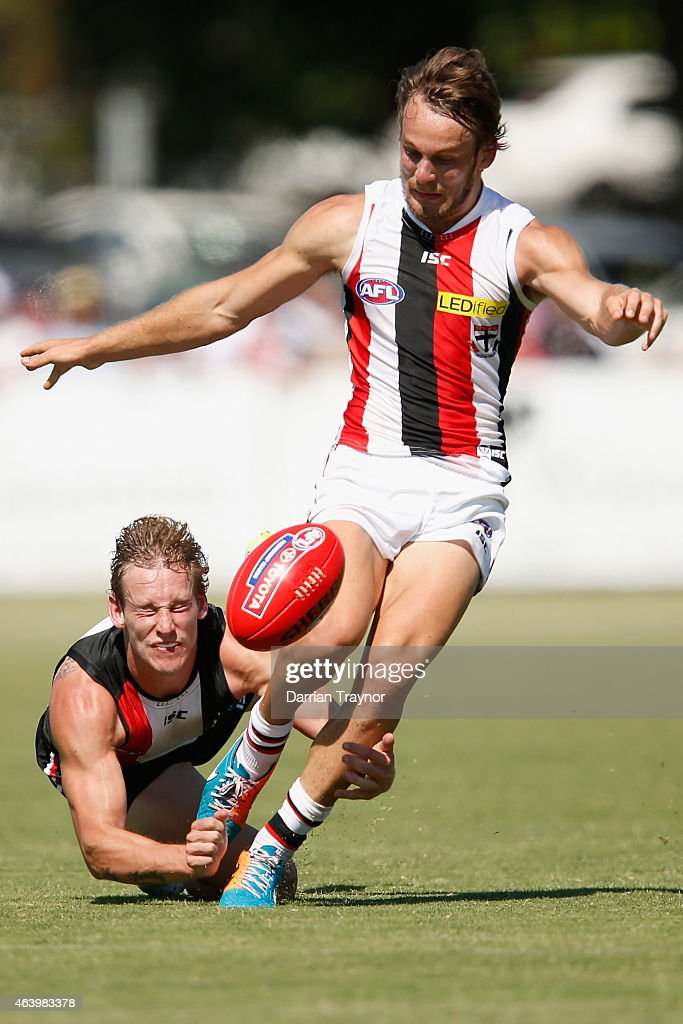 Jimmy Webster tackles Josh Saunders during the St Kilda Saints AFL intra club match at Linen House Oval on February 21, 2015 in Melbourne, Australia.
