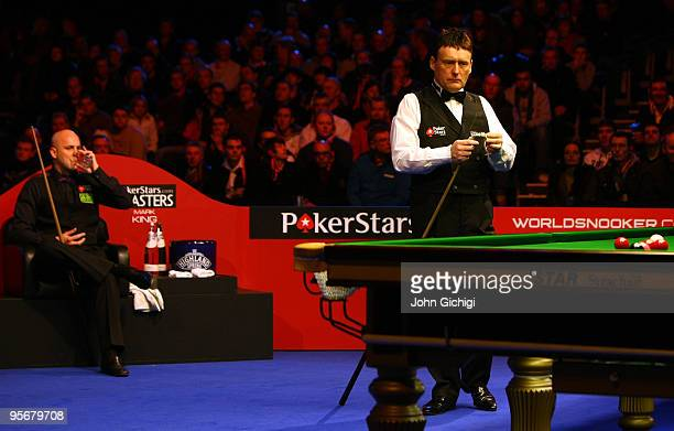 Jimmy White of England contemplates his next shot during his game against Mark King of England in the PokerStarscom Masters Snooker tournament at...