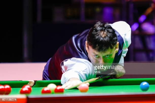 Jimmy White of England plays a shot during the first exhibition game against Ng OnYee of Chinese Hong Kong on day four of 2017 Hong Kong Masters at...
