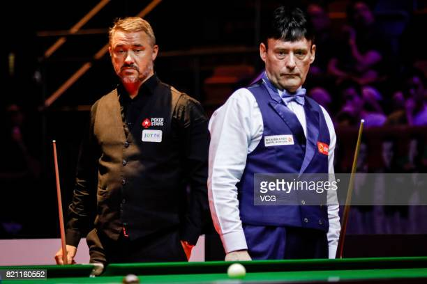 Jimmy White of England reacts during the third exhibition game against Stephen Hendry of Scotland on day four of 2017 Hong Kong Masters at Queen...