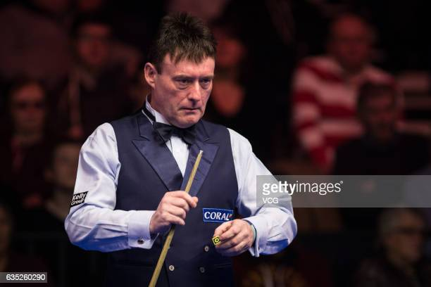 Jimmy White of England reacts in his first round match against Neil Robertson of Australia on day one of the 2017 Coral Welsh Open at the Motorpoint...