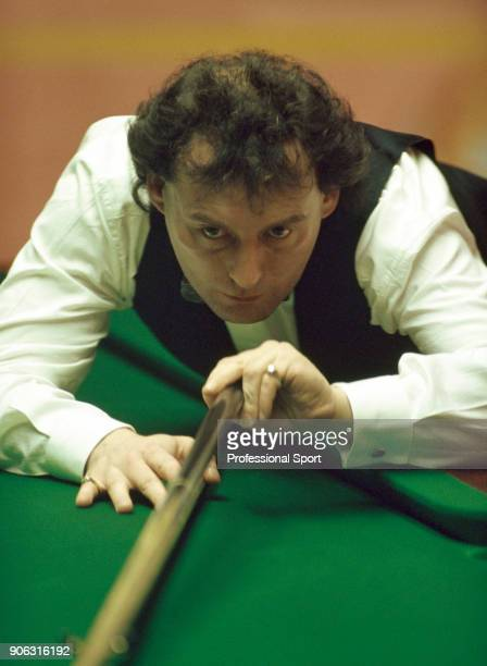 Jimmy White of Great Britain in action during the Embassy World Snooker Championship at the Crucible Theatre in Sheffield on 3rd May 1993 White was...