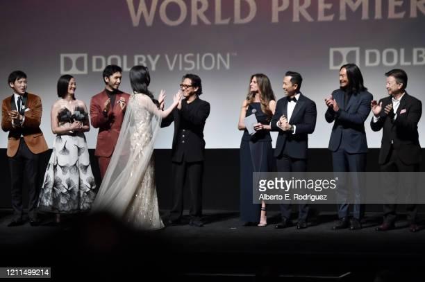 Jimmy Wong Rosalind Chao Yoson An Jet Li Yifei Liu Director Niki Caro Donnie Yen Jason Scott Lee and Tzi Ma speak onstage during the World Premiere...
