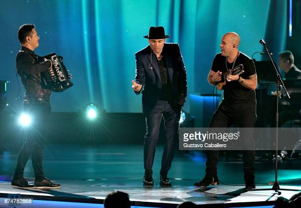 Jimmy Zambrano Santiago Cruz and Gian Marco perform onstage during the 2017 Person of the Year Gala honoring Alejandro Sanz at the Mandalay Bay...