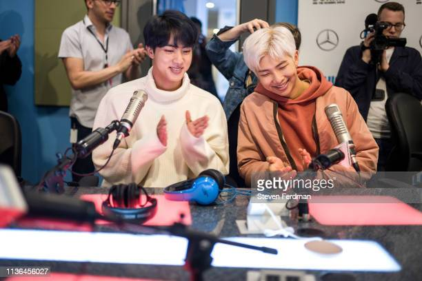 Jin and RM of BTS visit The Elvis Duran Z100 Morning Show at Z100 Studio on April 12 2019 in New York City