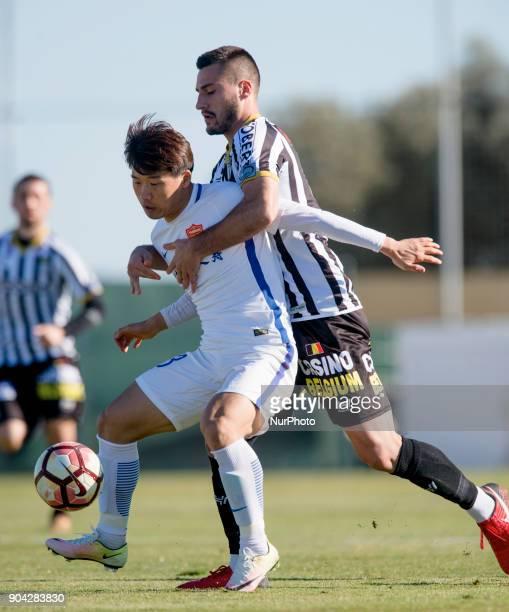 Jin Bo Gjoko Zajkov during the friendly match between Royal Charleroi SC vsYanbian Funde FC at Pinatar Arena Murcia SPAIN 10th January of 2018