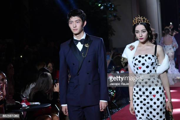 Jin Dachuan and Dilraba Dilmurat walk the runway at the Dolce Gabbana secret show during Milan Fashion Week Spring/Summer 2018 at Bar Martini on...