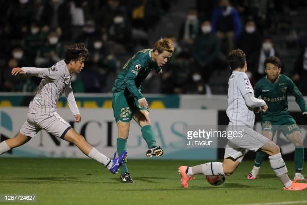Jin HANATO of Tokyo Verdy in action during the J.League Meiji Yasuda J2 match between Tokyo Verdy and Avispa Fukuoka at Ajinomoto Field Nishigaoka on...