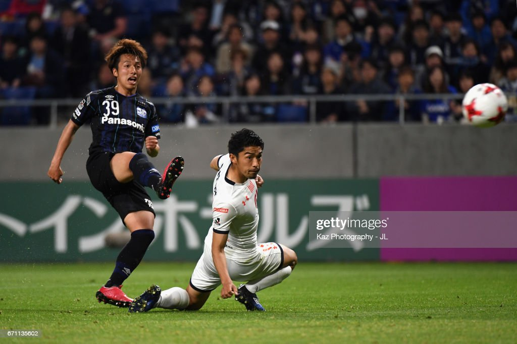 Jin Izumisawa of Gamba Osaka scores his side's second goal during the J.League J1 match between Gamba Osaka and Omiya Ardija at Suita City Football Stadium on April 21, 2017 in Suita, Osaka, Japan.