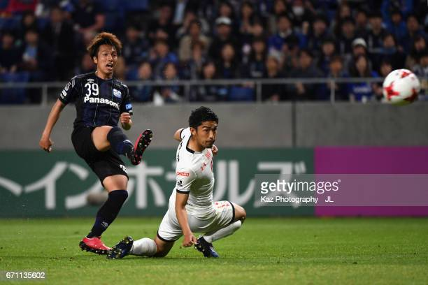 Jin Izumisawa of Gamba Osaka scores his side's second goal during the JLeague J1 match between Gamba Osaka and Omiya Ardija at Suita City Football...