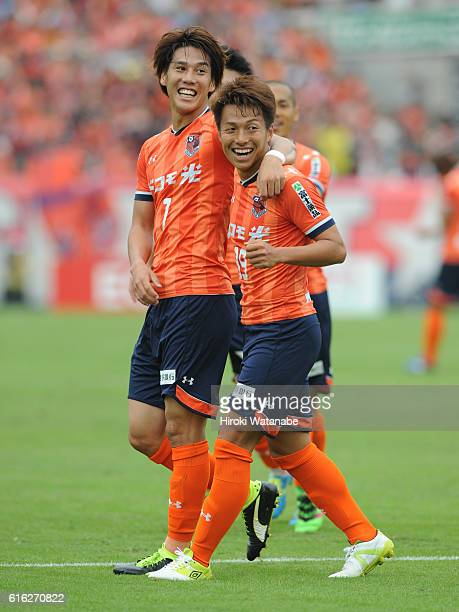 Jin Izumisawa of Omiya Ardija celebrates scoring his team`s second goal during the JLeague match between Omiya Ardija and Shona Bellmare at Nack 5...