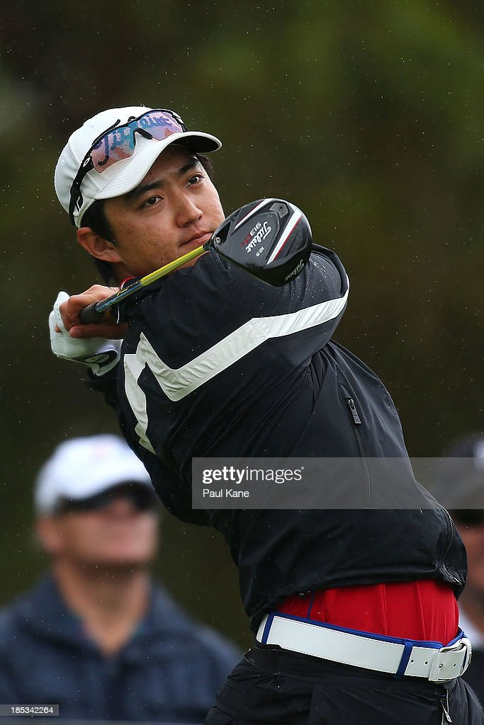 Jin Jeong of Korea tees off on the 15th hole during day three of the Perth International at Lake Karrinyup Country Club on October 19, 2013 in Perth, Australia.