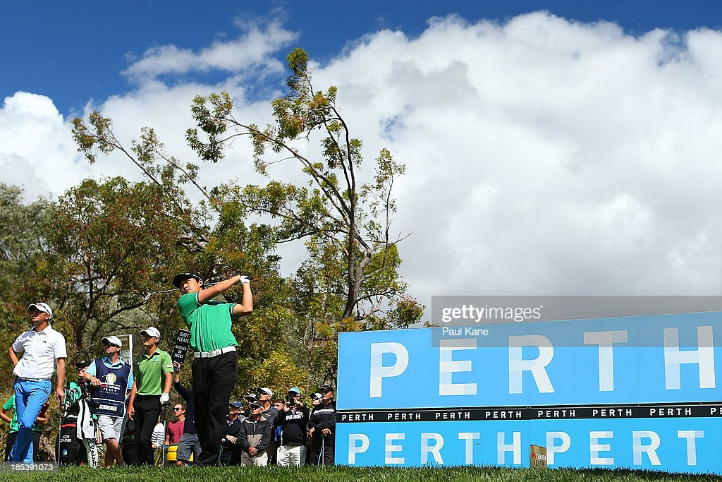 Jin Jeong of Korea tees off on the 17th hole during day 4 of the Perth International at Lake Karrinyup Country Club on October 20, 2013 in Perth, Australia.
