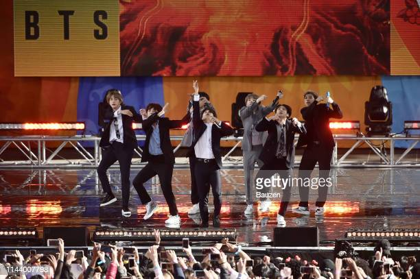 Jin JHope Jimin Suga Jungkook and RM of BTS perform on Good Morning America on May 15 2019 in New York City