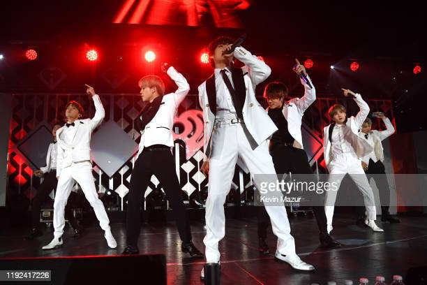 Jin, J-Hope, Jimin, V, Jungkook, Suga, and RM of BTS perform onstage during 102.7 KIIS FM's Jingle Ball 2019 Presented by Capital One at the Forum on...