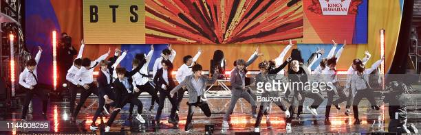 Jin JHope Jimin V Suga Jungkook and RM of BTS perform on Good Morning America on May 15 2019 in New York City
