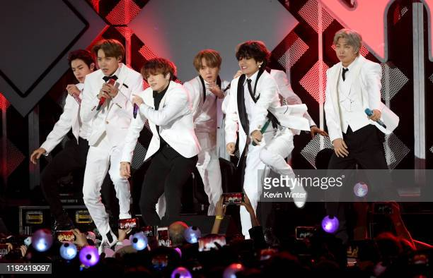 Jin, J-Hope, Jungkook, Suga, V, and RM of BTS perform onstage during 102.7 KIIS FM's Jingle Ball 2019 Presented by Capital One at the Forum on...