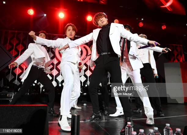 Jin, J-Hope, Jungkook, V, and RM of BTS perform onstage during 102.7 KIIS FM's Jingle Ball 2019 Presented by Capital One at the Forum on December 6,...
