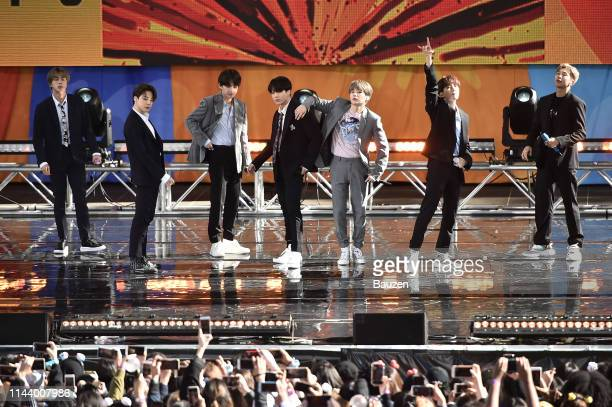 Jin Jimin V Jungkook Suga JHope and RM of BTS perform on Good Morning America on May 15 2019 in New York City