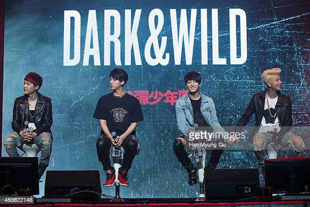 "Jin, Jung Kook and Rap Monster of BTS attends the BTS 1st Album ""Dark And Wild"" Show Case"" at the Samsung Card Hall on August 19, 2014 in Seoul,..."