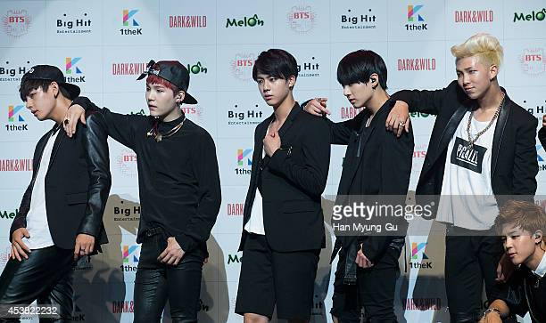 "Jin, Jung Kook, Rap Monster and Jimin of BTS attends the BTS 1st Album ""Dark And Wild"" Show Case"" at the Samsung Card Hall on August 19, 2014 in..."
