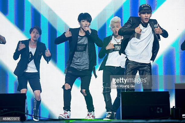 "Jin, Jung Kook, Rap Monster and V of BTS attend the BTS 1st Album ""Dark And Wild"" Show Case"" at the Samsung Card Hall on August 19, 2014 in Seoul,..."