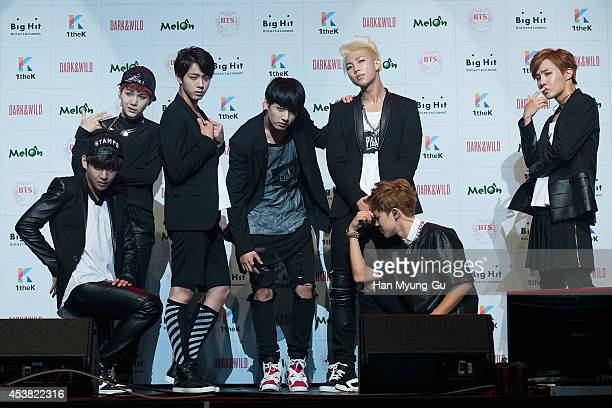 "Jin, Jung Kook, Rap Monster, Jimin, j-hope of BTS attends the BTS 1st Album ""Dark And Wild"" Show Case"" at the Samsung Card Hall on August 19, 2014 in..."
