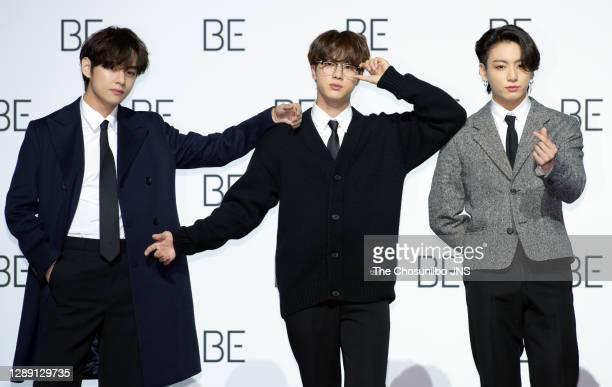 Jin, Jungkook of BTS during BTS's New Album 'BE ' Release Press Conference at Dongdaemun Design Plaza on November 20, 2020 in Seoul, South Korea.