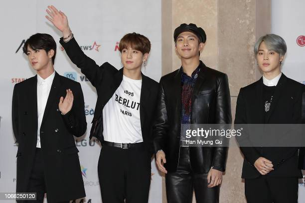 Jin JungKook RM and Jimin of boy band BTS attend the 2018 Asia Artist Awards on November 28 2018 in Incheon South Korea