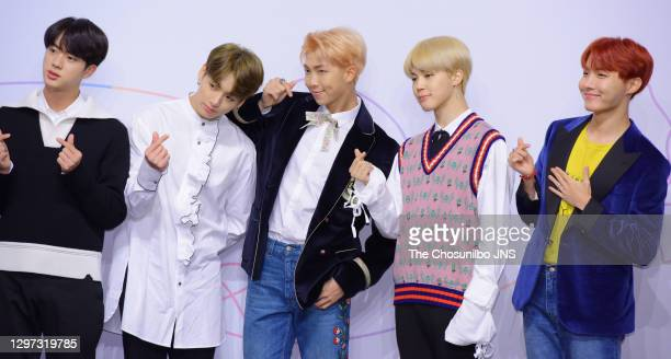 Jin, Jungkook, RM, Jimin and J-Hope of BTS attend the press conference for BTS's New Album 'LOVE YOURSELF: Her' release at Lotte Hotel Seoul on...
