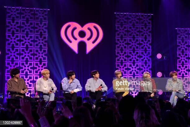 V SUGA Jin Jungkook RM Jimin and JHope of BTS onstage at iHeartRadio LIVE with BTS presented by HOT TOPIC at iHeartRadio Theater on January 27 2020...