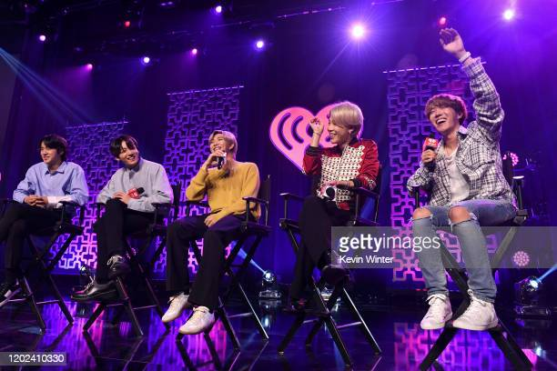 Jin Jungkook RM Jimin and JHope of BTS speak onstage at iHeartRadio LIVE with BTS presented by HOT TOPIC at iHeartRadio Theater on January 27 2020 in...