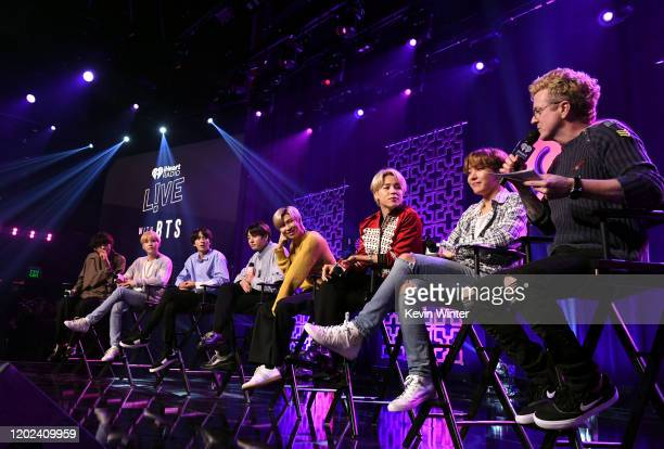 V SUGA Jin Jungkook RM Jimin and JHope of BTS speak with host JoJo Wright at iHeartRadio LIVE with BTS presented by HOT TOPIC at iHeartRadio Theater...