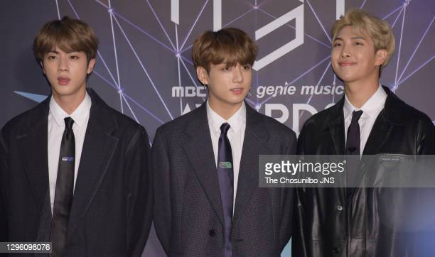Jin, Jungkook, RM of BTS attends at the 2018 MBC Plus X Genie Music Awards at Namdong Gymnasium on November 06, 2018 in Incheon, South Korea.