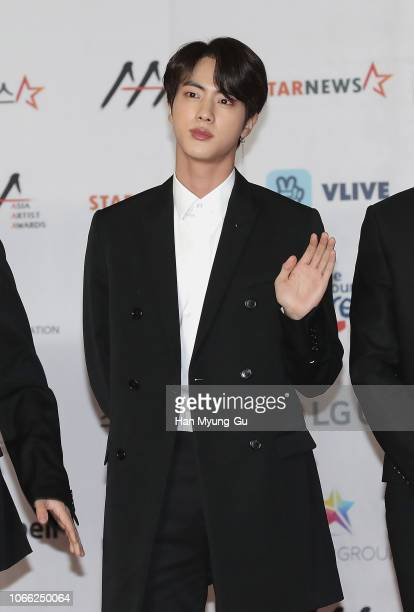 Jin of boy band BTS attends the 2018 Asia Artist Awards on November 28, 2018 in Incheon, South Korea.