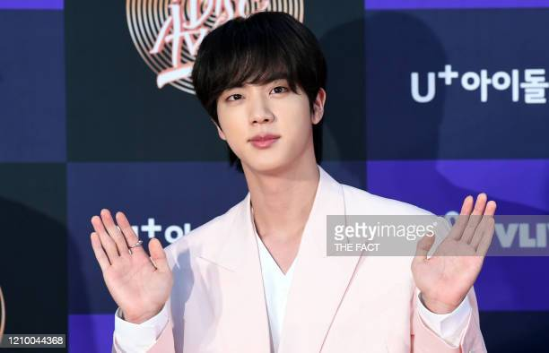 Jin of BTS arrives at the photo call for the 34th Golden Disc Awards on January 05, 2020 in Seoul, South Korea.